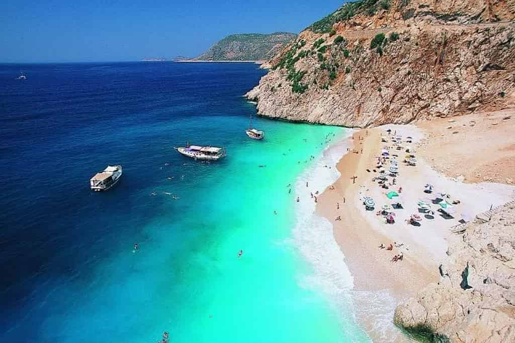 Kaputas Beach between Kalkan and Kaş in Turkey is very popular among local and foreign tourists.