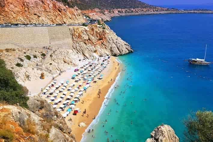 Tourism in Turkey: Kaputaş Beach in Antalya, one of the most popular beaches in the Mediterranean